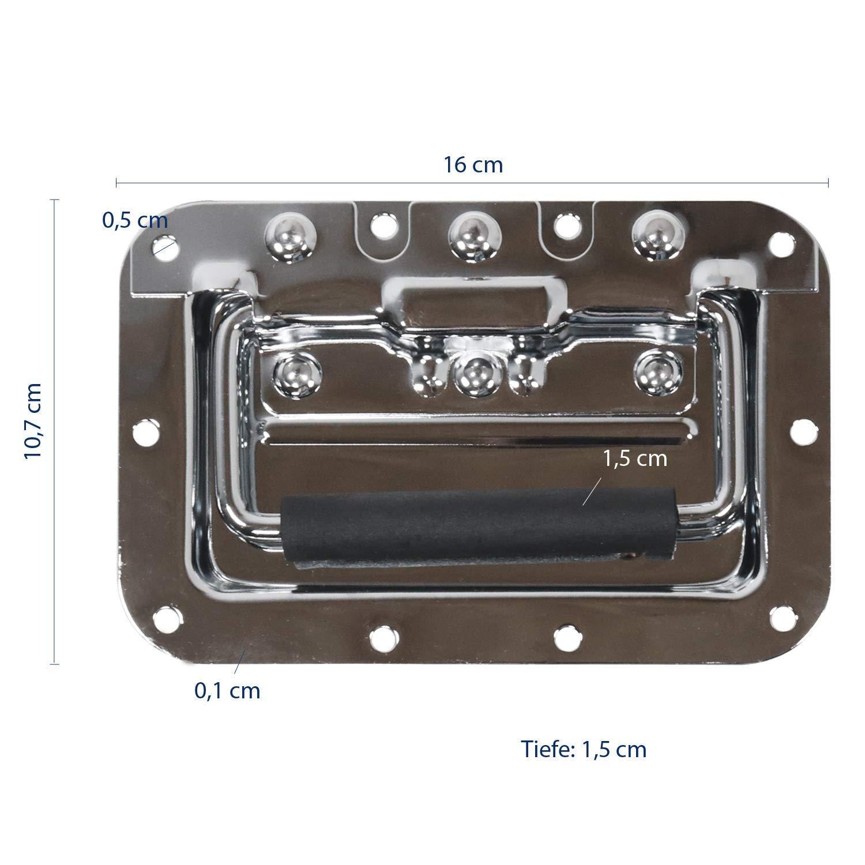 Gefedert 16 x 10,7 cm Einbauschale HMF 14992-09 Klappgriff 2er Set Silber