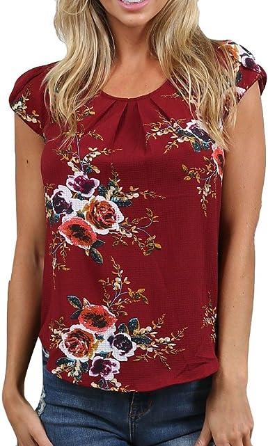 Camisa Mujer,riou Top Estampado de Manga Corta para Mujer Cuello Redondo Bosillo Blusa Fiesta Elegantes Casual Blusa Moda Patchwork Blusa: Amazon.es: Ropa y accesorios