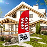 QSUM Open House Themed 8ft Tall Feather Flag , Swooper Flag and Pole Kit for Businesses,Now Open Adverting Flag(Red)