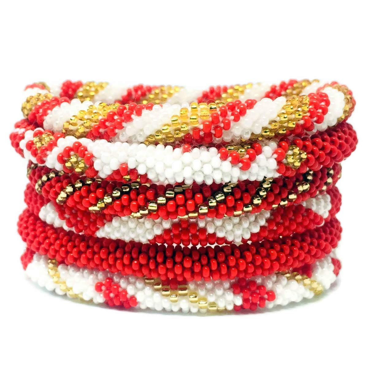 Kissed Karma Nepalese Roll on Hand Beaded Glass Seed Bead Bracelet. 6 Pcs Set. Premium Red Color Mix. (Red)