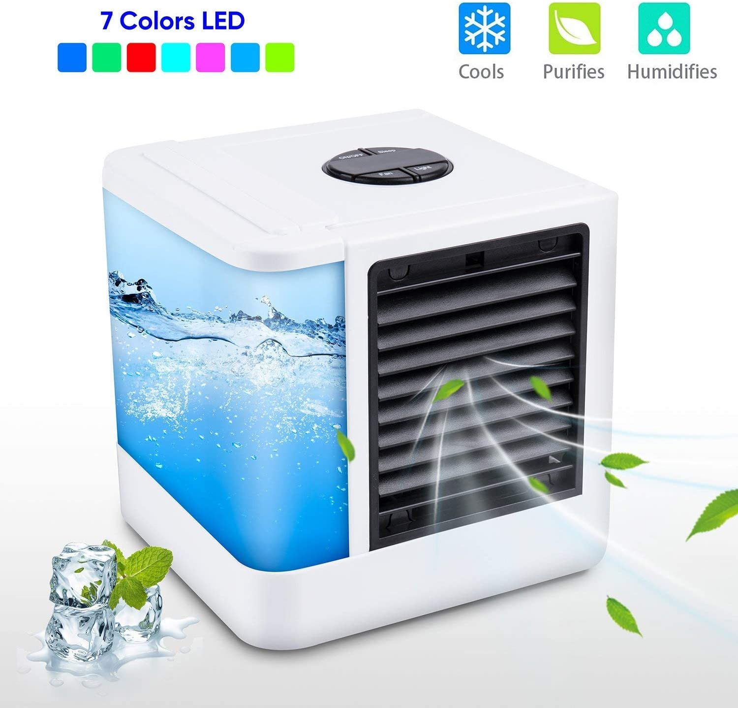 Air Cooler Mini Portable Air Conditioner Humidifier Purifier Light Desktop Air Cooling Fan For Office Home