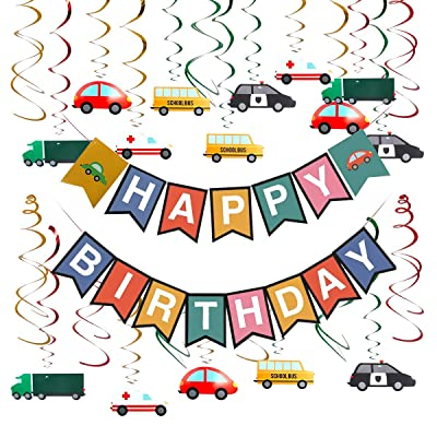 Cieovo Colorful Transportation Cars Trucks Buses Hanging Swirl Decoration, Cars Theme Happy Birthday Banner Garland for Transportation Themed Birthday Baby Shower Party Supplies: Toys & Games