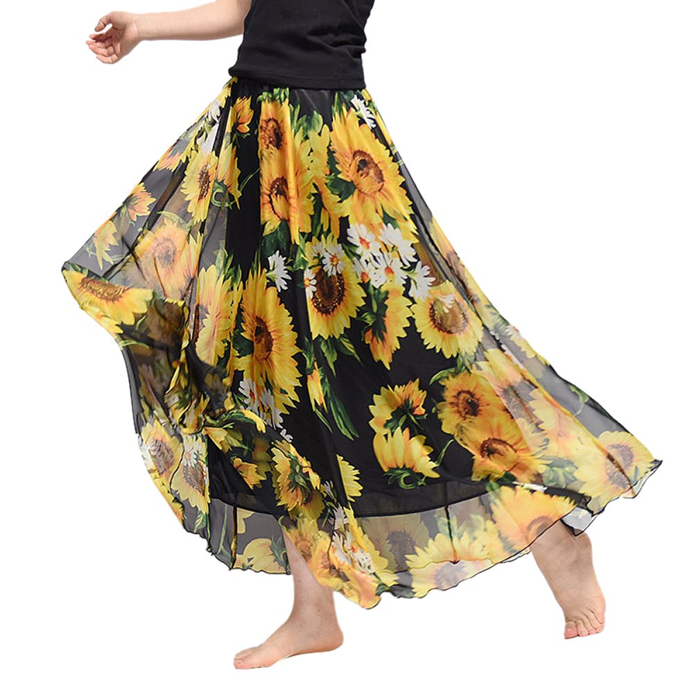 Uwback Women's Floral Chiffon Skirts African Maxi Long Skirt Sunflower one Size,US 2-12