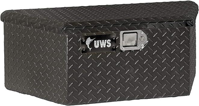 RigidCore Lid UWS EC20422 34-Inch Gloss Black Heavy-Wall Aluminum Trailer Tongue Tool Box with Low Profile