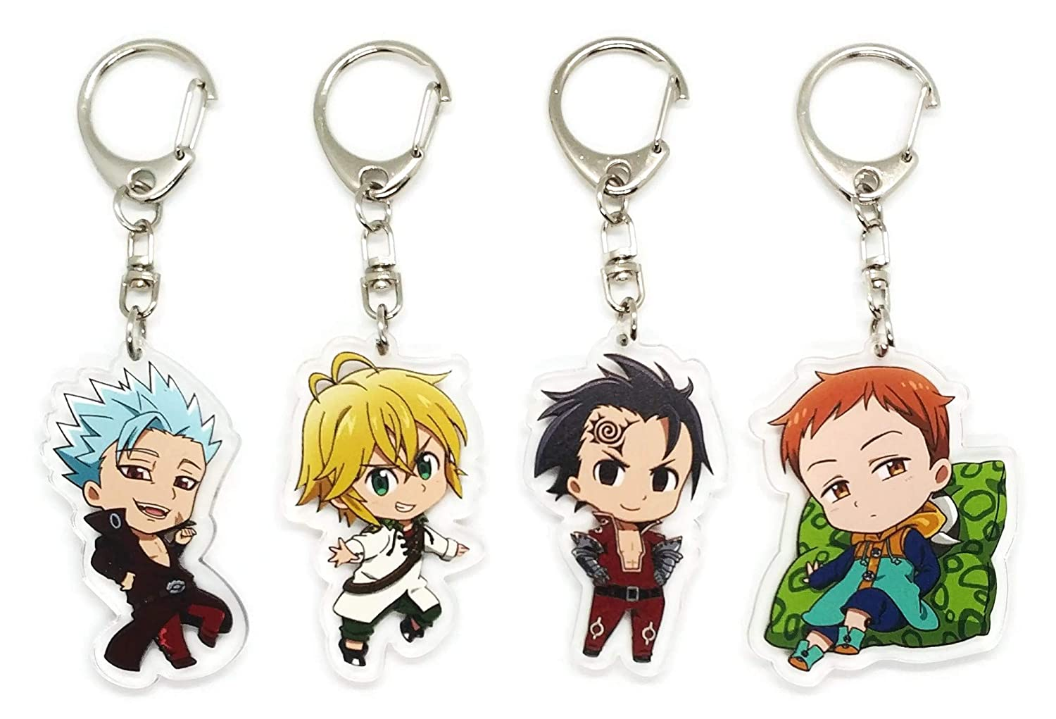 EBTY-Dreams Inc. - Set of 4 The Seven Deadly Sins (Nanatsu no Taizai) Anime Acrylic Keychain Ban, Meliodas, King, Zeldris