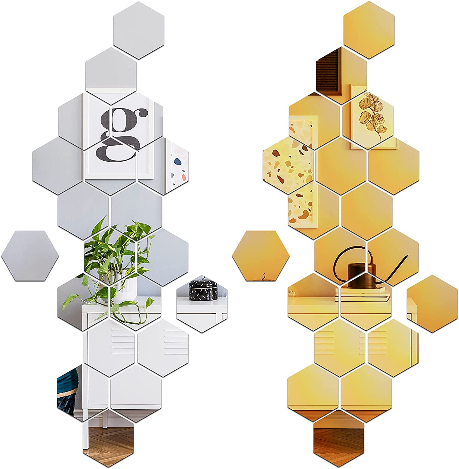 42 Pieces Hexagon Mirror Wall Stickers Removable Acrylic Wall Decals for Bedroom Home Living Room Decor (10 x 8.7 x 5 cm)