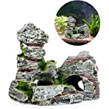 Delight eShop Mountain View Aquarium Rock Cave Tree Bridge Fish Tank Ornament Decoration Decor