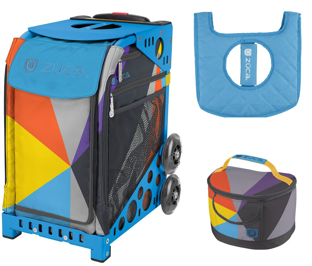 Zuca Sport Bag - Colorblock Party with Gift Lunchbox and Seat Cover (Blue Frame) by ZUCA