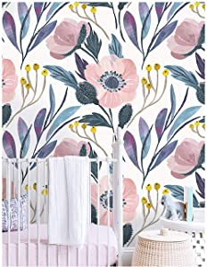 HaokHome 93019 Floral Peel and Stick Wallpaper Removable Pink/Blue/Yellow Vinyl Self Adhesive Shelf Liner 17.7in x 9.8ft