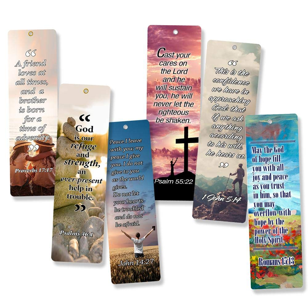 Christian Bookmarks Cards with Popular Inspirational Bible Verses - 6 Unique Designs (Pack of 60) - Bible Scripture Prayer Cards - War Room Décor