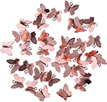 Jili Online 50 Pieces Beautiful Plated Animal Butterfly Pendant Charms Crafts 13x11mm Earring Findings Jewelry Necklace Stepshake Making - rose gold, 13 x 11 mm