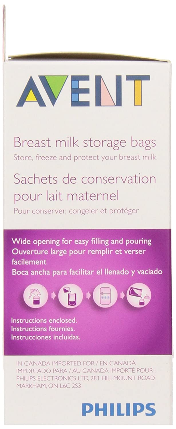 6 Ounce Philips AVENT Breast Milk Storage Bags Clear 50 Pack