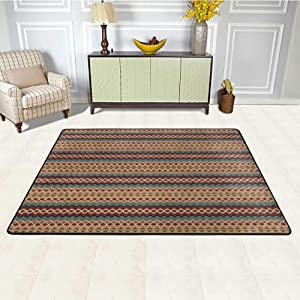 Native American Office Chair Mat for Carpet 6' x 9', Seamless Pattern with Aztec Motifs Horizontal Stripes Non-Slip Rug, Beige Turquoise and Burgundy