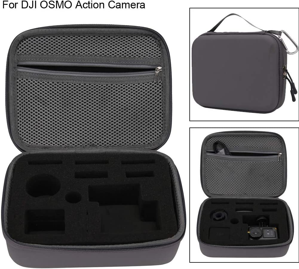 Chezaa Surface-Waterproof Camcorder Carrying Case Compatible with DJI OSMO Action Accessory Gray Portable Protective Bag Carry Storage Box