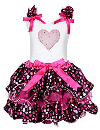 Petitebella 1st Valentine Day White L//s Shirt Hot Pink Heart Petal Skirt Nb-8y
