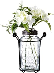 """Diamond Star Glass Flower Jar Vase in Metal Stand with Metal Frog Lid, Decorative Centerpiece for Home or Wedding (5.5""""L X 3""""W X 7""""H)"""