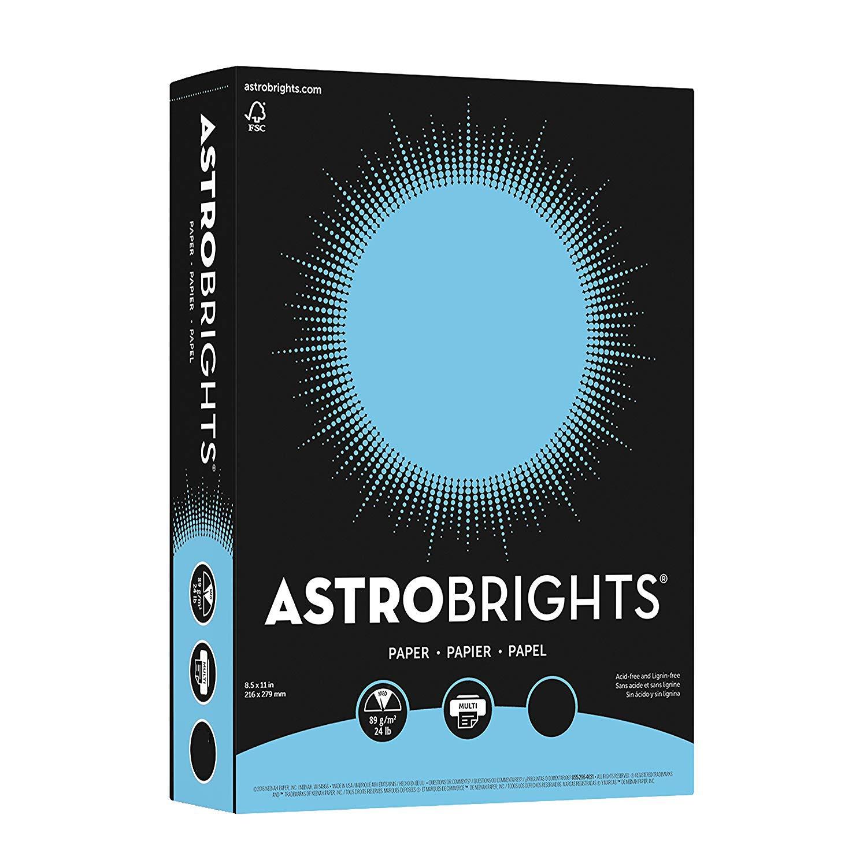 Wausau Astrobrights Premium Paper, 24 lb, 8.5 x 11 Inches, Lunar Blue, 100 Sheets