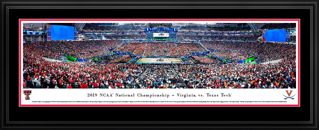 2019 NCAA Basketball Championship - Virginia vs Texas Tech - Double Mat, Deluxe Framed Picture by Blakeway Panoramas by Blakeway Worldwide Panoramas, Inc.