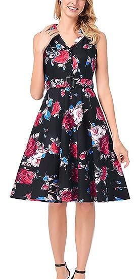 Sommer Damen 1950s Retro Blumen Kleid Mode Ärmellos Plissee Kleider  Tunikakleid Elegant Knielang A-Linie Kleid Partykleid Abendkleider  Cocktailkleid ... b34327622a