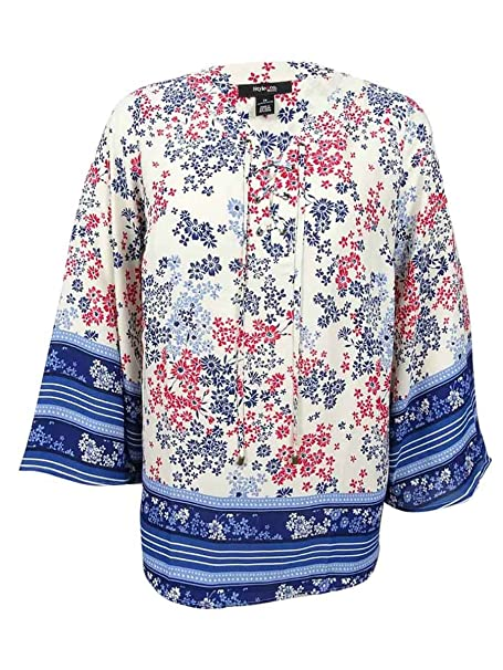 813290a6131 Style   Co Womens Plus Size Red Blue Scarf Print Peasant Shirt Top 2X at  Amazon Women s Clothing store
