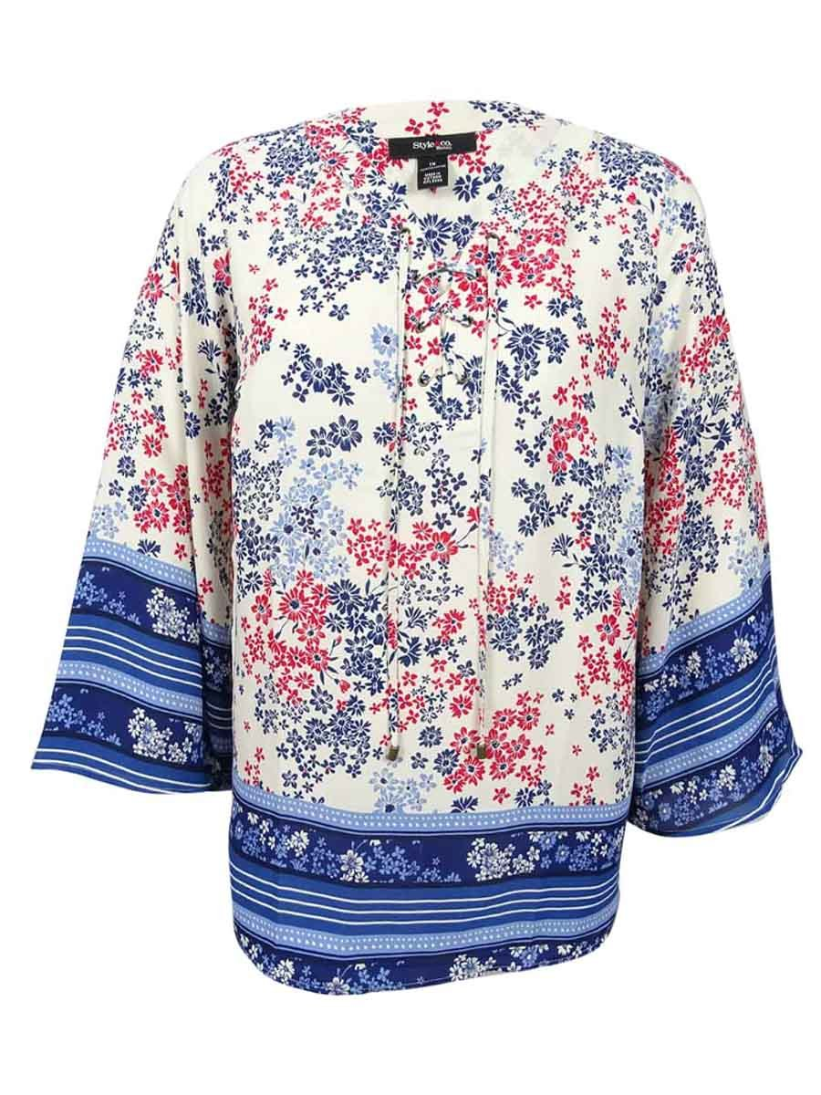 Style & Co Womens Plus Size Scarf Print Peasant Top Floral Shirt 3X