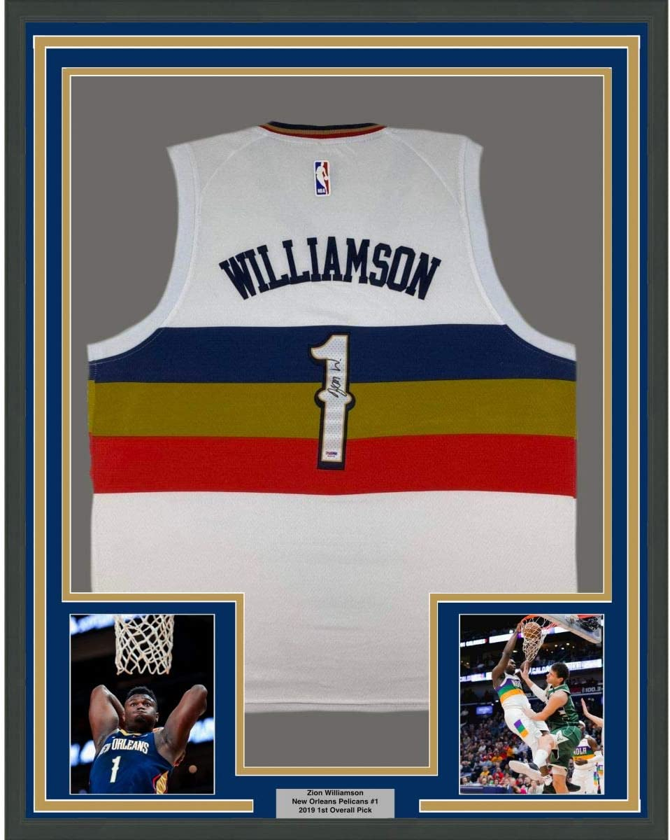 Framed Autographed/Signed Zion Williamson 33x42 New Orleans White Basketball Jersey PSA/DNA COA Holo Only