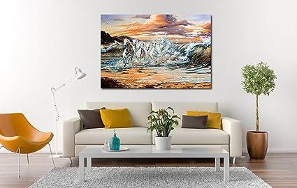 100yellow Seven Running Horses Painting As Per Vastu Modern Art Oil 36 X 48