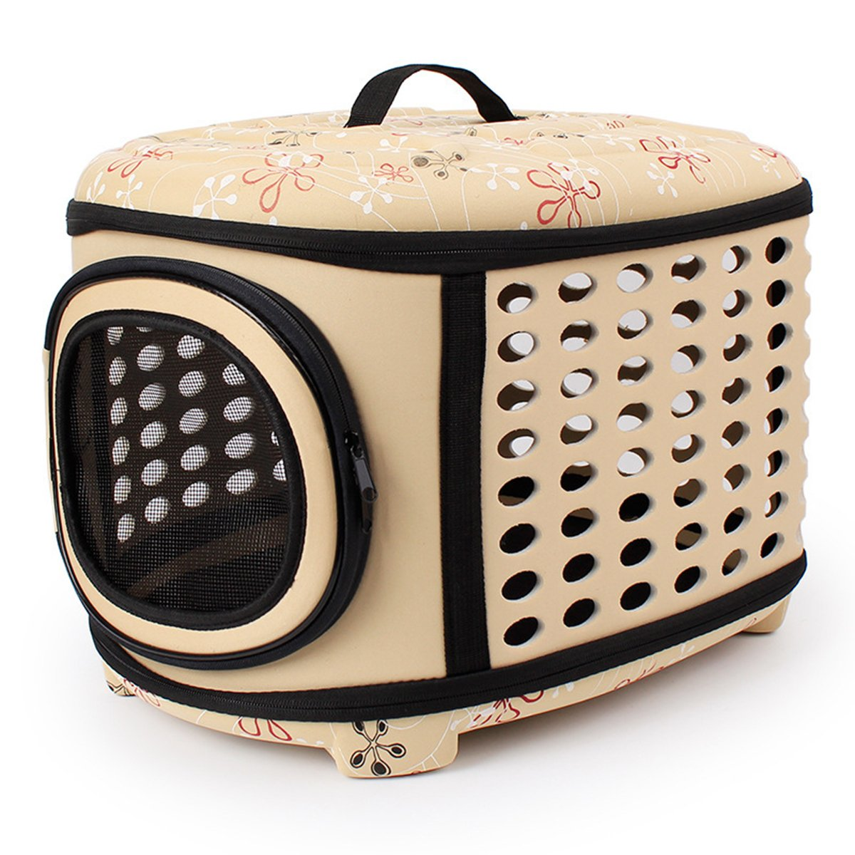 QZBAOSHU Cat Carrier Travel Kennel for Cats, Small Dogs Puppies & Rabbits 18LX14WX12H (Yellow) by QZBAOSHU