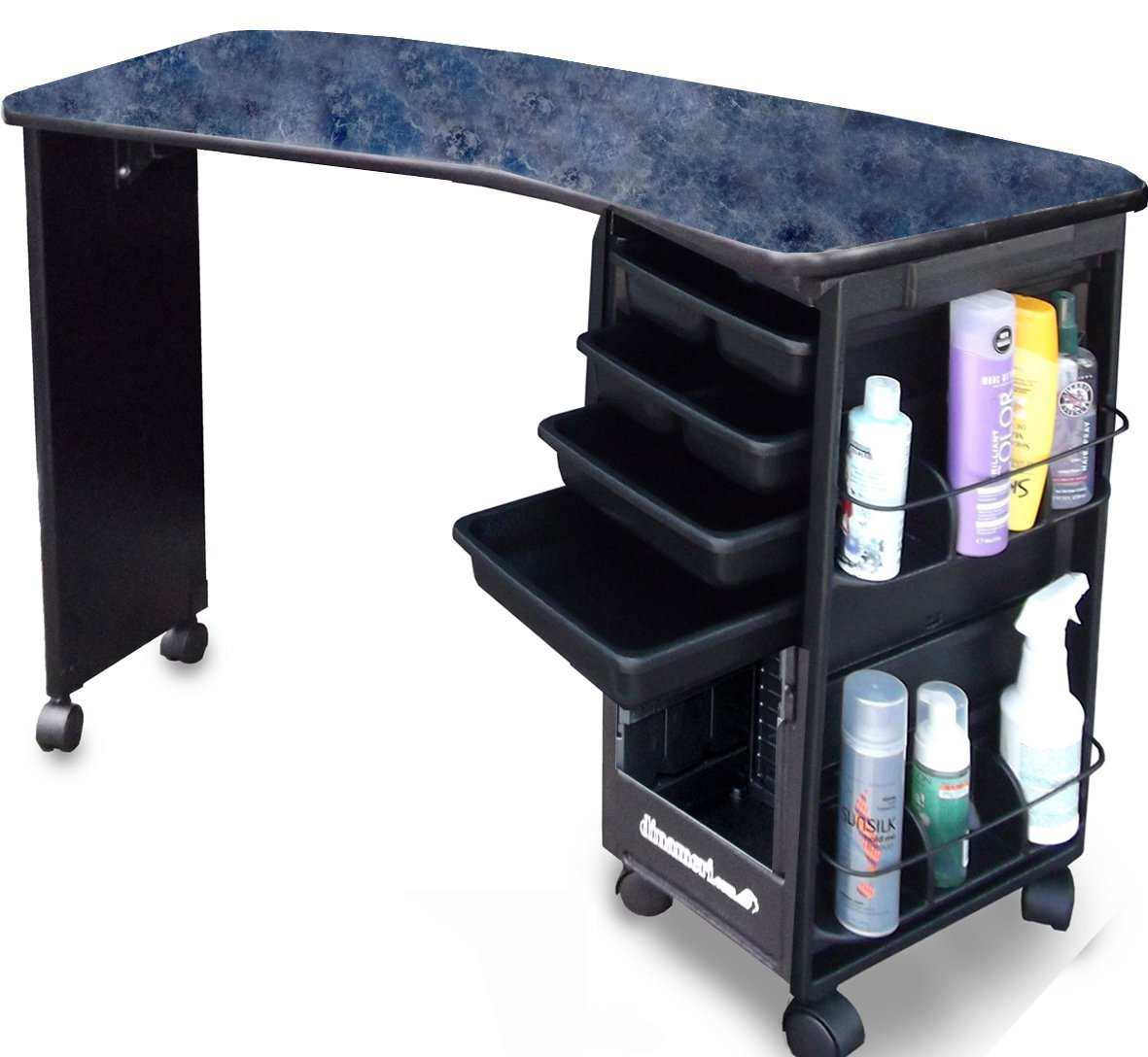 M600-E Econo Manicure Nail Table Curved Black Marble Lamininated Top Made in USA by Dina Meri by Dina Meri (Image #2)