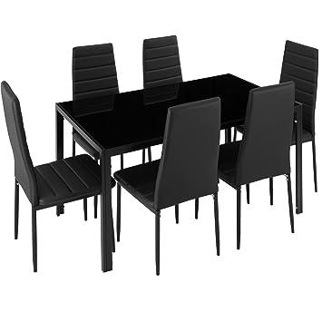 TecTake Conjunto de Mesa y 6 sillas de Comedor (Negro | No. 402839 ...