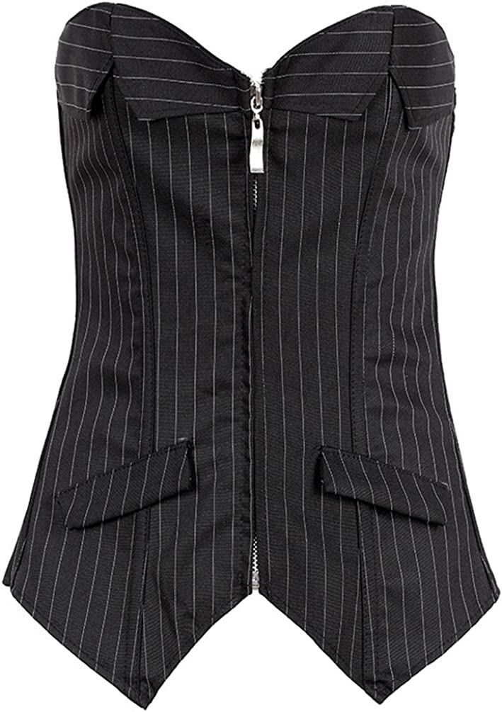 Mumentfienlis Womens Zipper Front Striped Plus Size Corset with Skirt