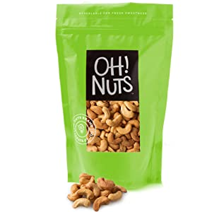 Oh! Nuts Dry Roasted Salted Cashews | Fresh, Finely Salted, & Healthy, Protein Snacks | Resealable 2-Lb. Bulk Bag | Vegan & Gluten-Free Snacking | Bulk Nut Snack Food | Paleo & Keto Diets