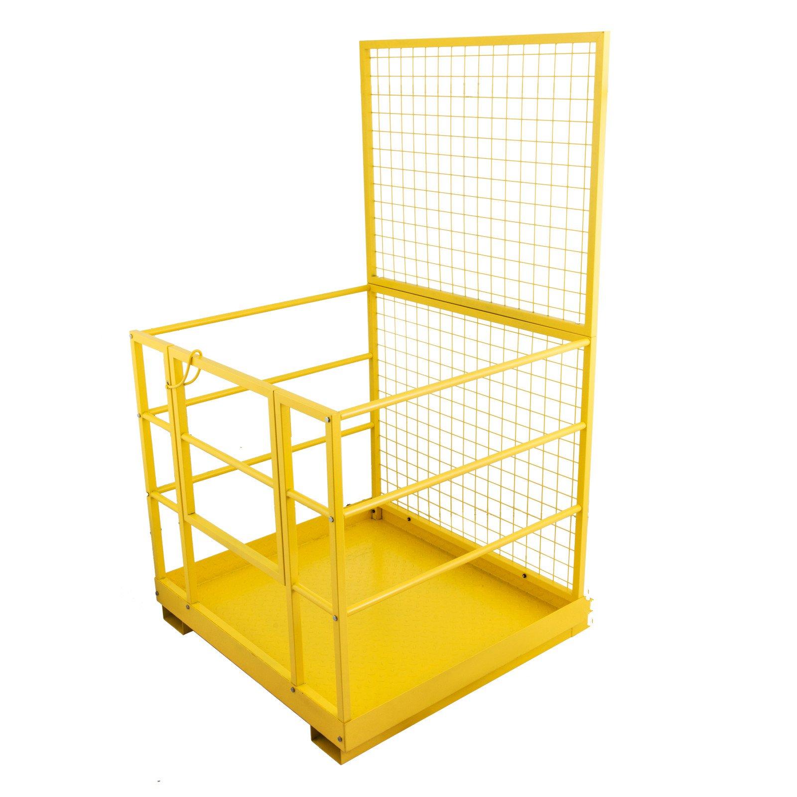 Happybuy Forklift Safety Lift Basket 1200lbs Capacity Steel Forklift Safety Cage Work Platform 45'' x 43'' Forklift Basket Safety Cage for Most Aerial Jobs of Forklift or Pallet Loader (45x43 Inch)