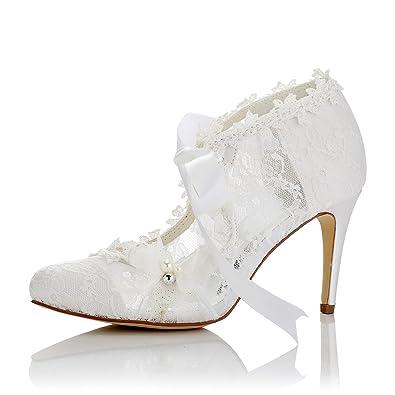 Les Haut Talon Aiguille Pointue Chaussures Chaussures de Mariée en Satin perlé en Cuir, 35
