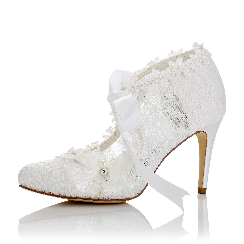 JIAJIA 16798 Women's Bridal Shoes Closed Toe High Heel Lace Satin Pumps Pearl Bowknot Ribbon Tie Wedding Shoes Color Ivory,Size 5.5 B(M) US/36 EU