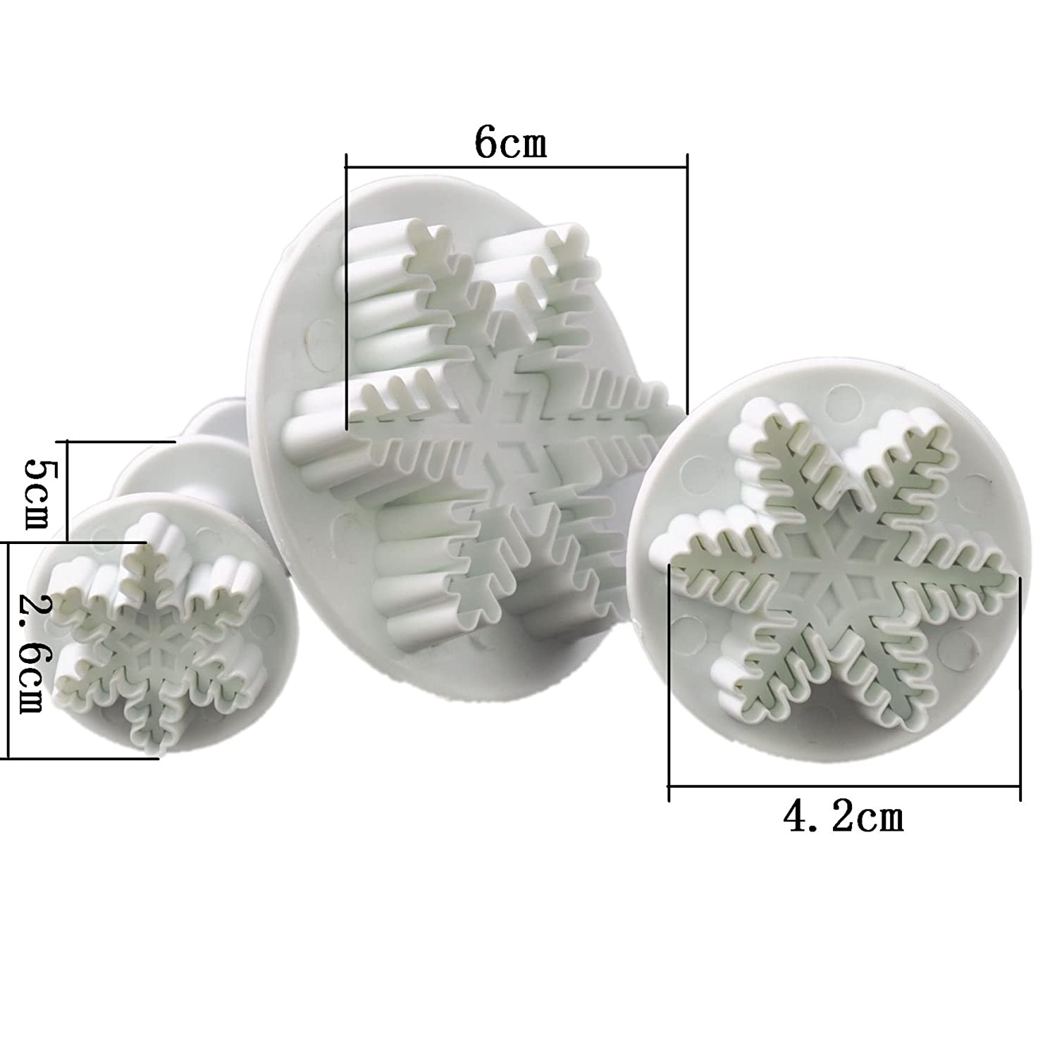 3 x Sugarcraft Snowflake Cutter Plunger Cake Decorating Tools Molds(Snowflake)