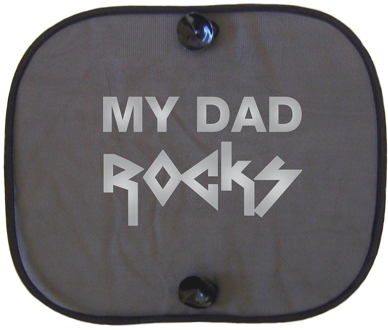 My Dad Rocks Silver Car Sun Protector for Kids