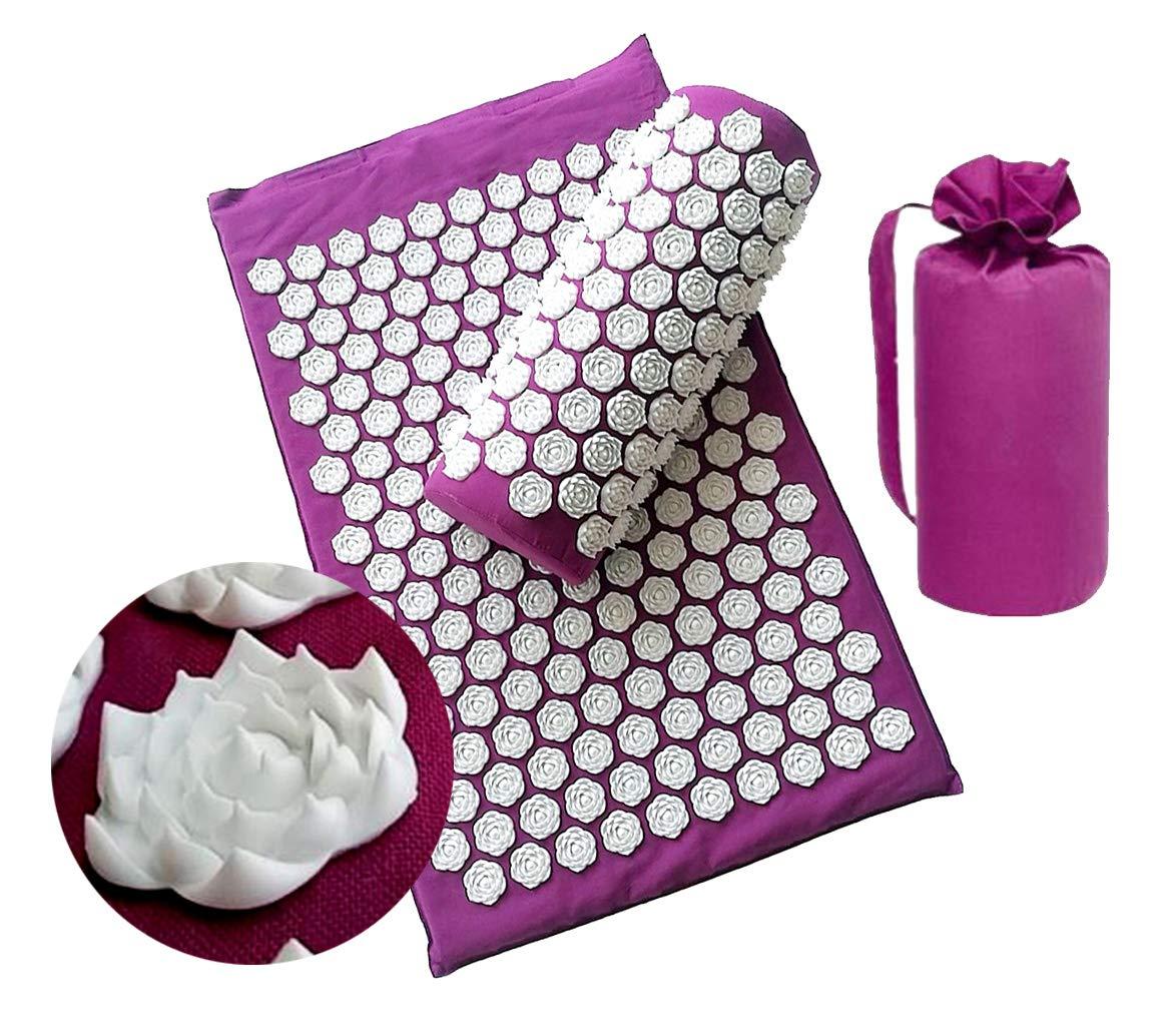 Lotus Spike Body Acupressure Mat and Pillow Set, Superior Yoga Acupuncture Mat for Pain Treatment Massage Pilates Meditation-Purple