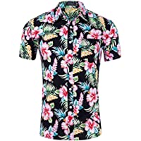 959fb02045e1 Hawaiian Shirt Men s Shirts Flower Casual Button Down Short Sleeve Aloha  Shirts Beach Shirt Vintage Button