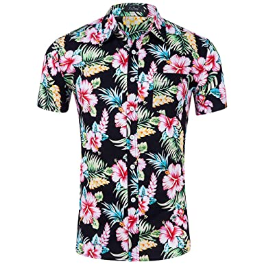 9b22eee8d370 Hawaiian Shirt Men's Shirts Flower Casual Button Down Short Sleeve Aloha  Shirts Beach Shirt Vintage Button