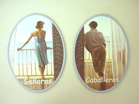 Cartello Per Bagno Donne : Set 2 piastre legno adesivo cartello porta cartello ovale bagno