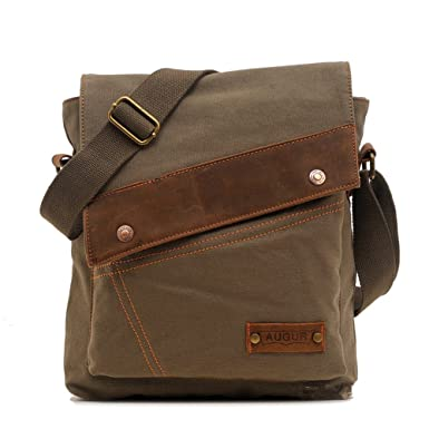 Amazon.com | Sechunk Cotton Canvas Leather Messenger bags Shoulder ...