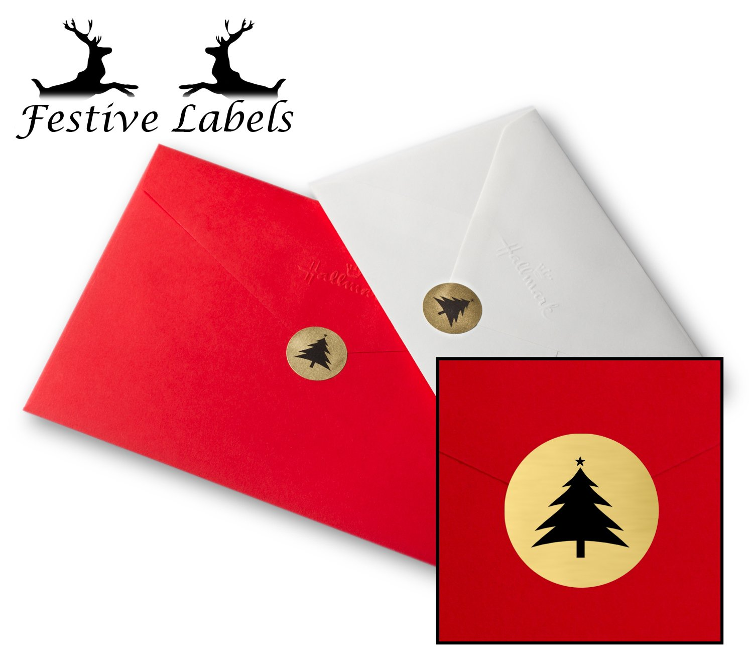 """140x Round Metallic Gold Card Envelope Seals, Festive Labels """"Christmas Tree"""" 25mm Diameter Circular Permanent Self-Adhesive Golden Printed Stickers, UK FLESG1 For Xmas Greeting Cards/Bags/Gift Wrapping Presents"""