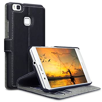 finest selection 1ecef d5dba Huawei P9 Lite Case - Terrapin Huawei P9 Lite Leather Case Wallet Flip  Cover - Ultra Slim Fit - Viewing Stand - Card Slots - Black