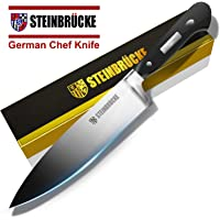 "STEINBRÜCKE Chef Knife 8 inch, Kitchen Knife,German 5Cr15Mov Stainless Steel Blade, Length-8"", Thickness-1/8"", HRC58 Sharp Dishwasher Safe Solid for Home Forged Kitchen, Hand Polished"