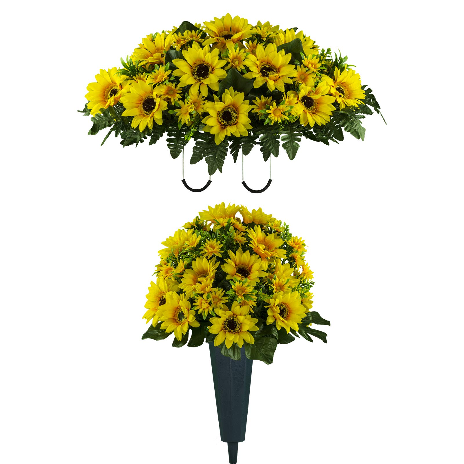 Sympathy Silks Artificial Cemetery Flowers – Realistic Vibrant Sunflowers Outdoor Grave Decorations - Non-Bleed Colors, and Easy Fit - One Yellow Sunflower Bouquet and One Yellow Sunflower Saddle