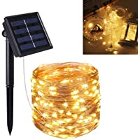 Guirnalda Luces Exterior Solar, 22m 200 LED Cadena de Luces con 8 Modos de Luz Decoración de Cobre, Guirnaldas de Luz…