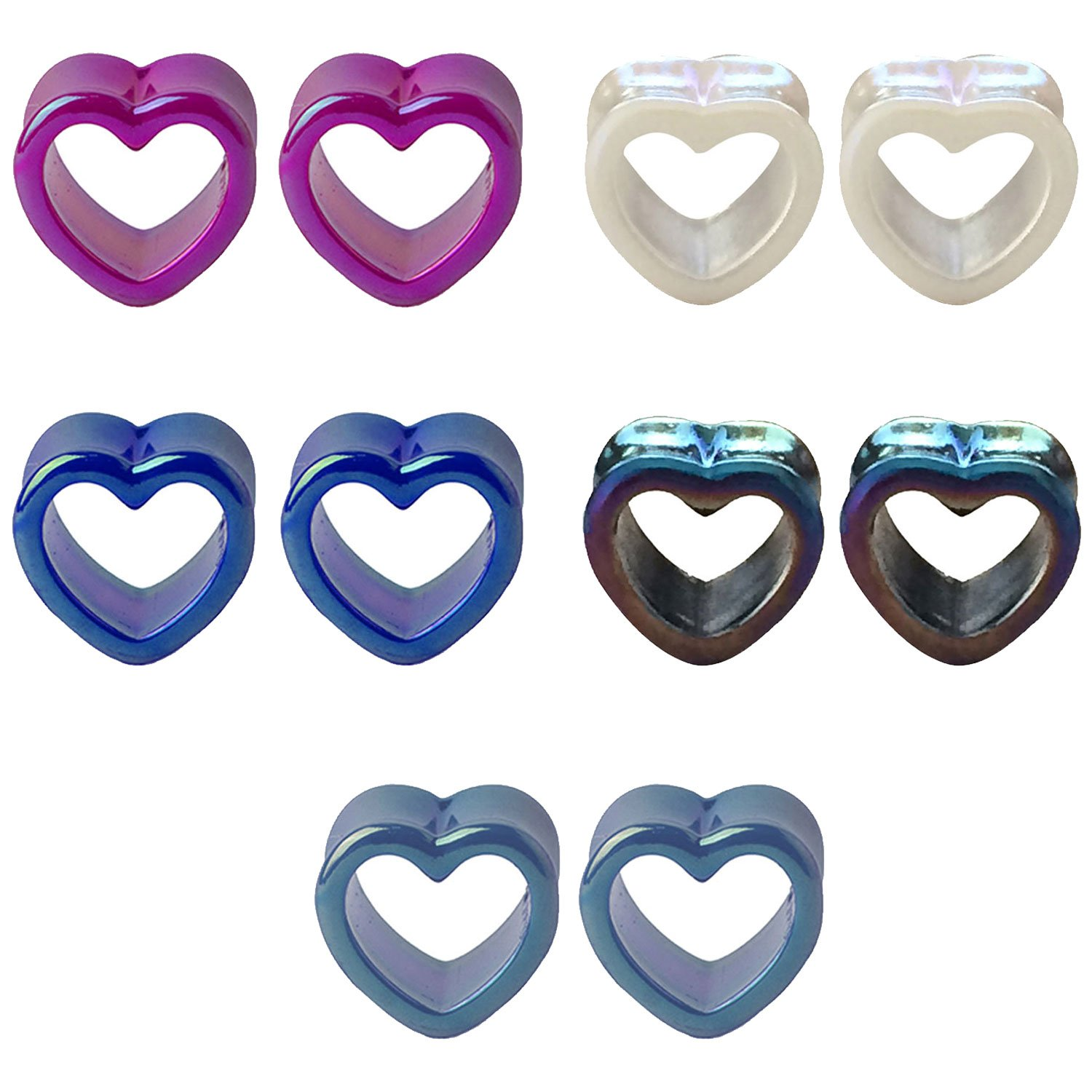 BodyJ4You 10PCS Gauge Plugs Tunnels 12mm Acrylic Glossy Heart Double Flare Multicolor Ear Expander