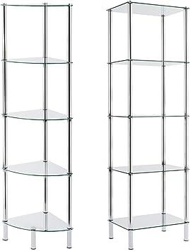 Casa Pura - Estantería de cristal ideal para el baño, cocina y oficina, vidrio, Glass Shelf 40x30x134 cm (Gina)