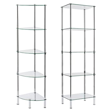 Charming Casa Pura Glass Shelving Unit, Gina   5 Tier, 40x30x134cm | 2 Sizes  Available   For Bathroom, Kitchen, Home And Office: Amazon.co.uk: DIY U0026  Tools Awesome Ideas